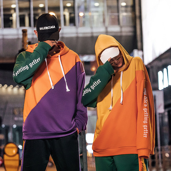 2019 New Design Hoodies Loose Fashion Classic Street Hip Hop Pullover Sweatshirts Couple Top Solid Color Coats Hooded Sweater Jacket