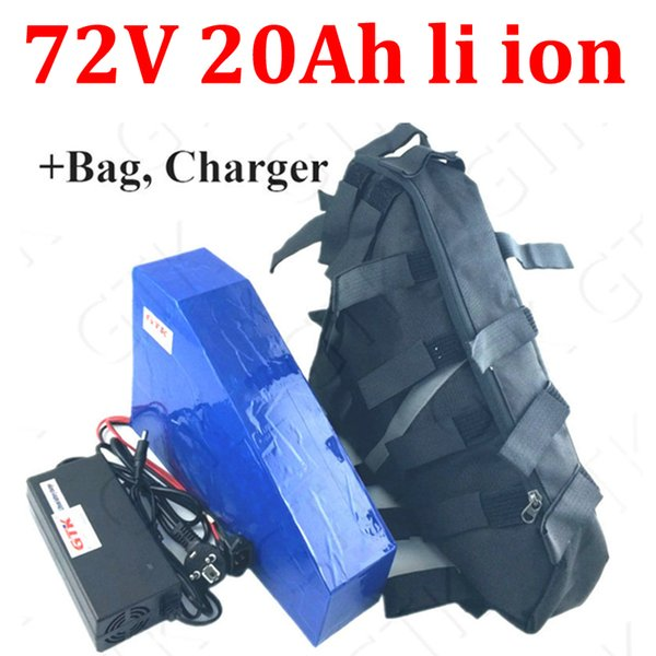 gtk 72v 20ah lithium ion triangle battery bms 20s 74v for 1500w 2000w motorcyle scooter e bike bicycle + 5a charger + bag