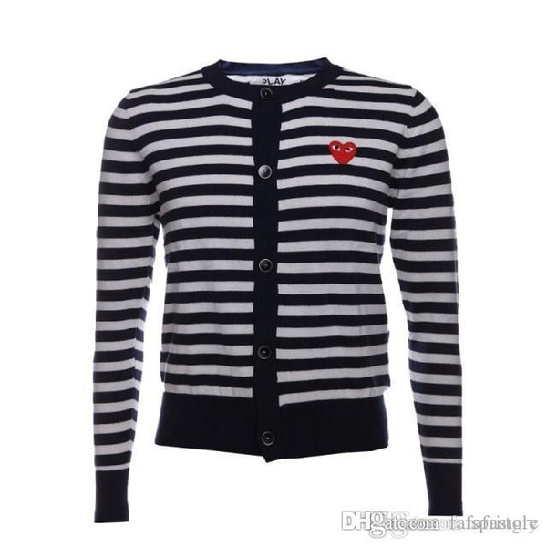 2018 BestQuality Com Des Garcons C218-1 Royal Blue Red Heart cardigan Unisex Casual Thin V-Neck Sweatershirts CDG Play Men Women Hoodie Coat