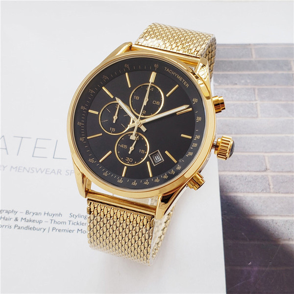 best selling Top quality mens watches boss All pointer work functional chronograph quartz watch stainless steel strap waterproof stopwatch montre de luxe