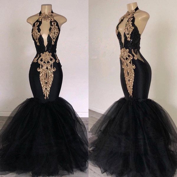 Sexy Black Halter Tulle Mermaid Long Prom Dresses Keyhole Lace Applique Gold Sparkly Backless Full length African Occasion Evening Gowns
