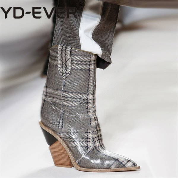 YD-EVER Sexy Embossed Microfiber Leather Women Boots Western Cowboy Mid-calf High Boots Chunky High Heels Motorcycle