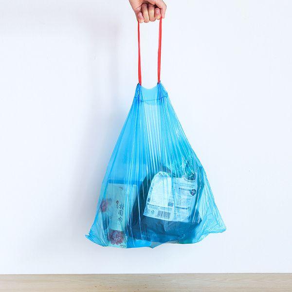 Saco de lixo com cordão ponto de cor portátil de lixo saco de lixo de encerramento automático espessamento cozinha e saco de armazenamento de viagem