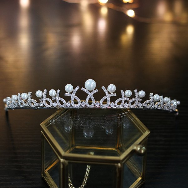 Exquisite simple high-grade cubic ZIRCON crown tiara wedding dress round engagement pearl hair band hair accessories