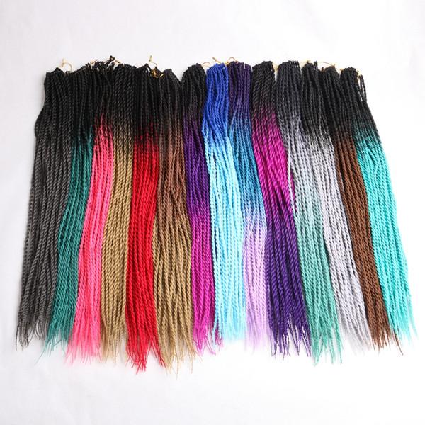 Ombre Senegalese Twist Crochet Braids Hair 24inch Small Twist Crochet Braids Extensiones de cabello trenzado sintético para mujeres negras blancas