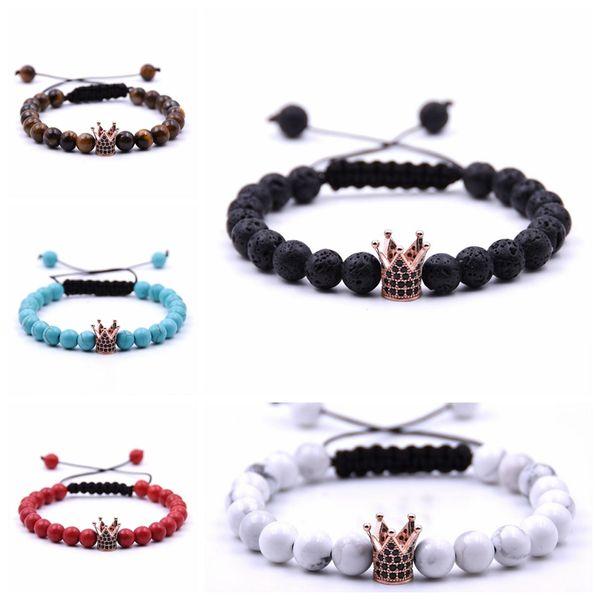 Free shipping Golden Samurai crown 8MM Beads Braided Bracelet Men and Women Fashion Glamour Jewelry Lava stone Fashion Jewelry