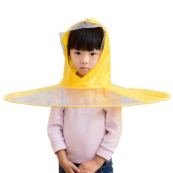 Erkek Kız Yağmur Şapka Katlanabilir Çocuk Yağmurluk Şemsiye Cape Sevimli Yağmur Coat Cloak Universal Duck Yaratıcı Karikatür