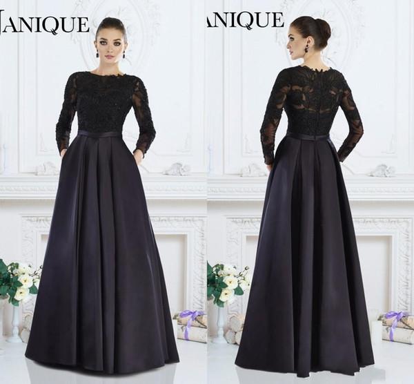 Janique 2020 moderne noir à manches longues Robes de soirée A-ligne bijou dentelle perlée Mère de robes de mariée sur mesure femmes Tenue de soirée