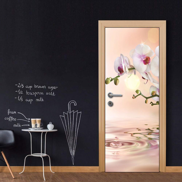Custom Whole Sheet Riverside Orchid Flower Door Wallpaper Stickers for Home Decoration Vinyl Removable Wall Mural 3D Decals