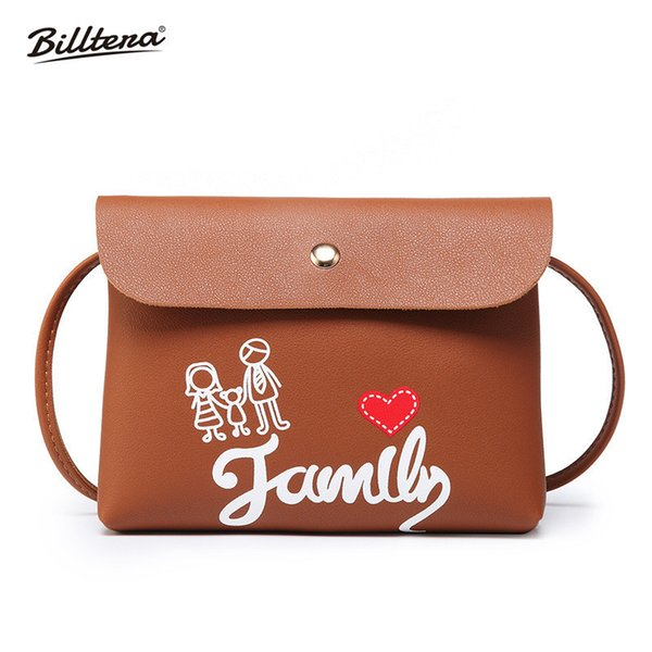 Cheap Billtera Love and Family Style Women Messenger Bag Casual Style PU Leather Female Shoulder Corssbody Bag 9 Colors Ladies Handbag