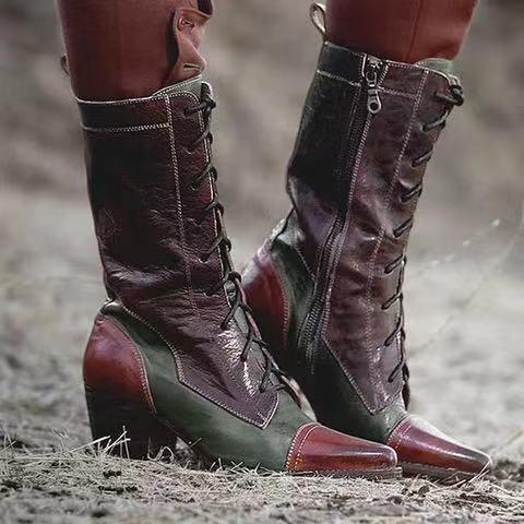 Basso quadrato di cuoio caldo di vendita-Donne Inverno Moto Stivali Donne Sexy Lace-Up Boots Pu tallone warmful Metà di-Vitello Botas Mujer