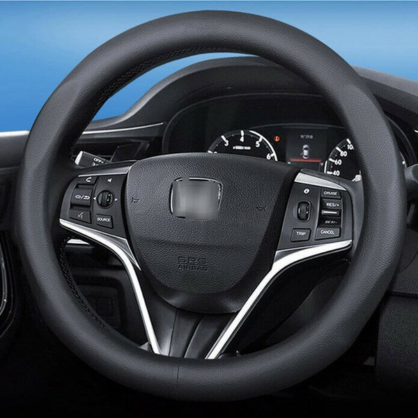 15 inch Black Top PVC Leather Car Interior Steering Wheel Cover For Honda Series