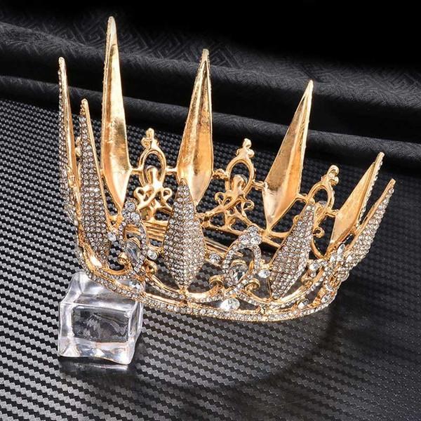 FORSEVEN baroque or Full Circle Diadèmes Couronnes Bijoux cheveux strass cristal Diadème Diadème de mariage Accessoires cheveux JL