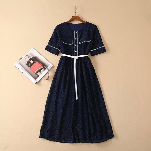 2019 Spring Lace Short Sleeve Crew Neck Blue Lace With Belt Lady Contrast Color Mid-Calf One Piece Dress Luxury Runway Dresses A1722