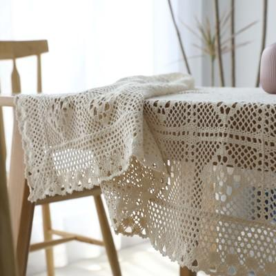 Réutilisable Style Pastoral Nappe Tissée À La Main Coton Dîner Table Cloth Open wave Décoration Table Cover Lavable Paino couverture