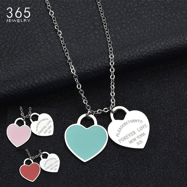 """top popular Fashion Accessories Enamel Double Heart Pendant Stainless Steel Necklace """"FOREVER LOVE"""" Letter Necklace Wedding Gift 2021"""
