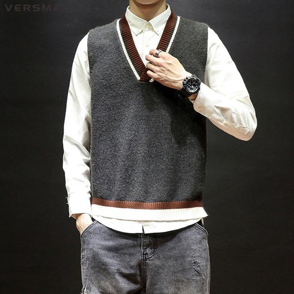 VERSMA 2019 Coreano Harajuku Brutto maglione maglia maglia degli uomini pullover con scollo a V oversize mens maglia gilet senza maniche 5XL