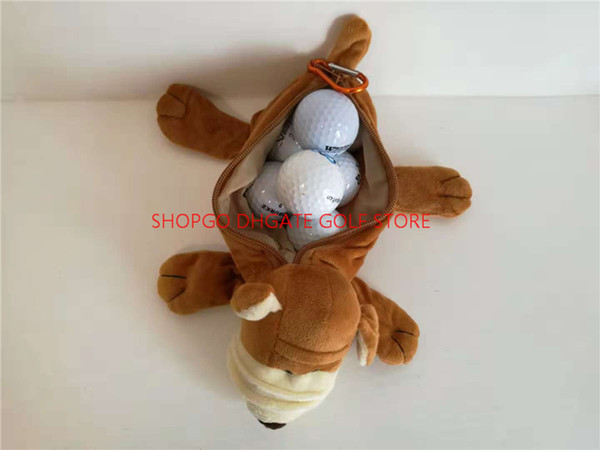 Shar Pei Dog Small Golf Ball Bag Can Pack 5~7pcs Balls Cartoon Animal Golf Tee Key Marker Hand Bags Mascot Novelty Cute Gift