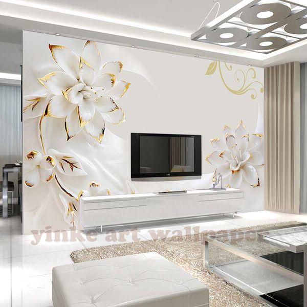 Custom 3d Photo Wallpaper Bedroom For Walls White Flower Background Decorative Wall Murals Wallpaper Living Room Wallpaper Hd Desktop Widescreen