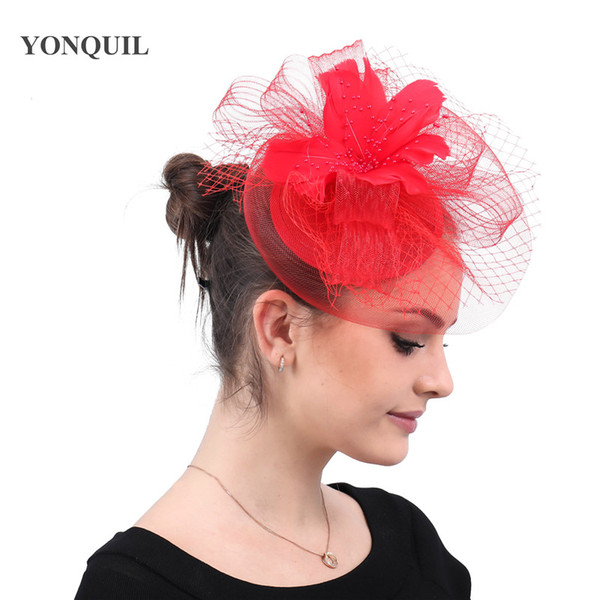 Female elegant bridal wedding veils hats facinators church cocktail derby fancy feathers race hair accessorie with hair clips free shipping