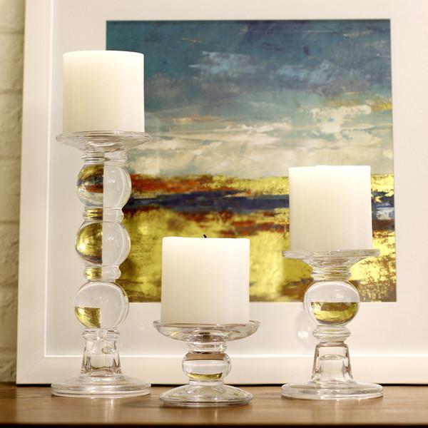 Candeliere di vetro romantico di stile dell'Europa Candelabro di cristallo trasparente Candeliere Titolare di Tealight Tabella di nozze Centrotavola Home Decor Ornament
