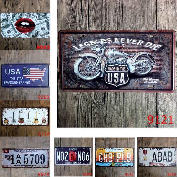 USA Banner Guitar Legends Car Metal License Plate Vintage Tin Sign Bar Pub Cafe Garage Home Decorative Metal Sign Art Painting