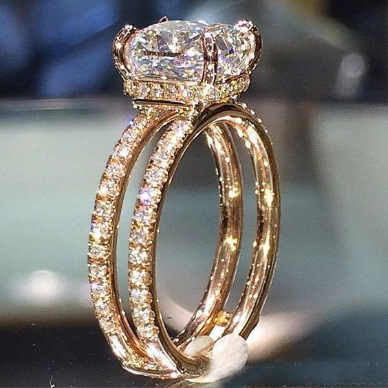 Fashion Big White Cubic Zircon Wedding Rings 14k Gold Color Two