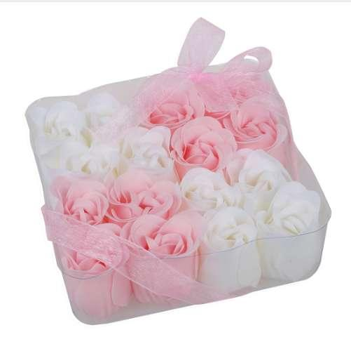 16 Pcs Pink White Bathing Scented Rose Soap Petals