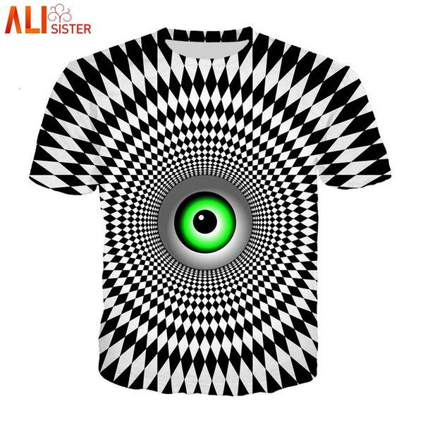 Alisister Vertigo Hipnotik T Gömlek Erkekler Kadınlar 3d Komik Baskı O Boyun Yaz Tişörtleri Unisxe Hip Hop Tees Camisa Tops