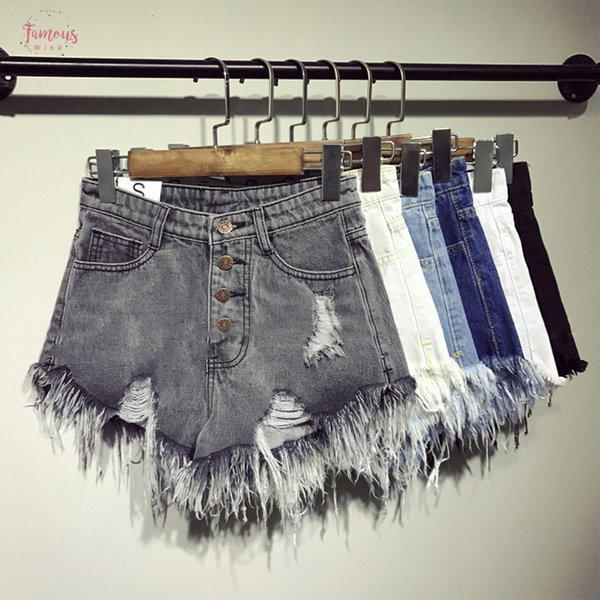 New Arrival Summer Hot Sale Denim Women Shorts High Casual Waists Fur-Lined Leg-Openings Plus Size Sexy Short Tj1115