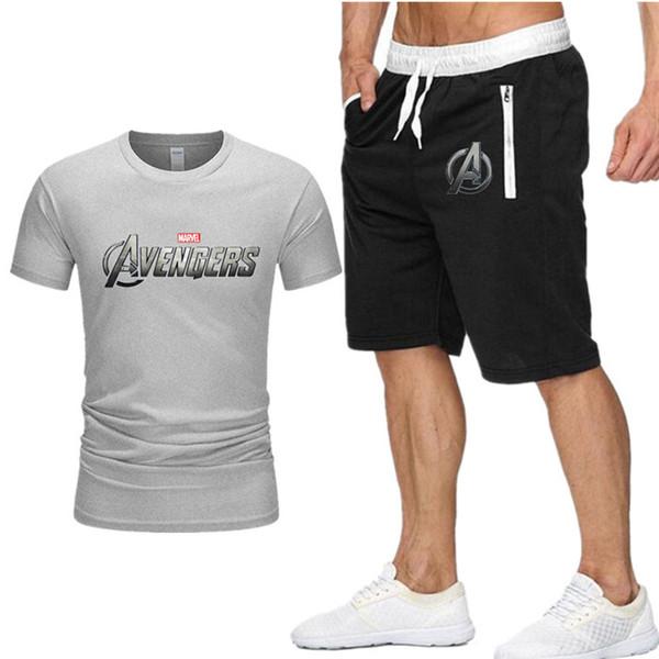 Magliette + pantaloncini da uomo set marvel Abbigliamento di marca Tuta a due pezzi Moda Casual Magliette Allenamento Set di fitness XXL D8