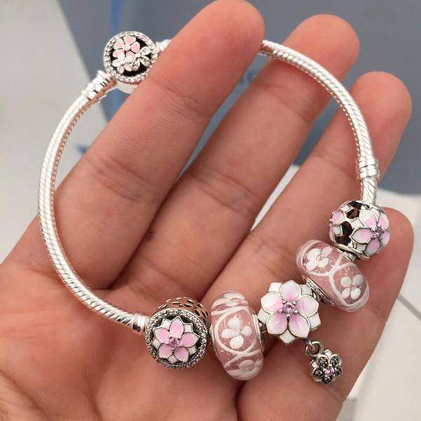 Fashion 925 Sterling Silver Purple Crystal Murano Lampwork Glass & Crystal European Charm Beads Fits Pandora Charm Bracelets & Necklace