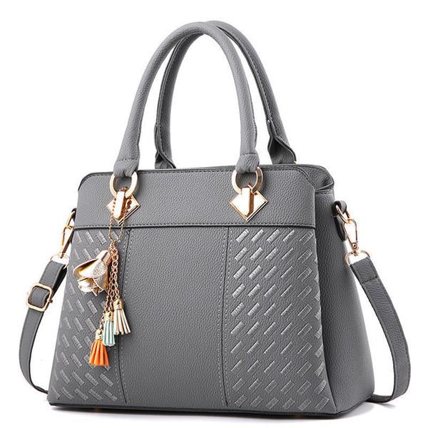 good quality Women Handbags For 2019 Handbags Women Bags Designer Women Leather Handbag Tassel Shoulder Bag Wmen Bolsa Gray A711