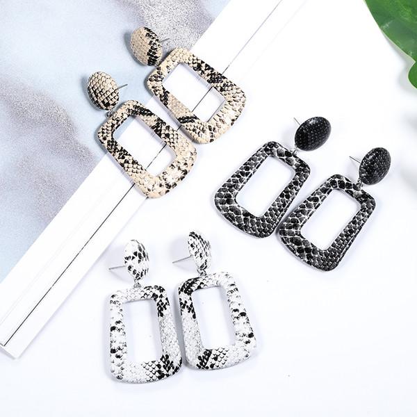 Summer Love Round Square Leather Earrings Long Dangle Snake Leopard Pattern Hanging Earring Drop Earrings for Women 2019 Jewelry