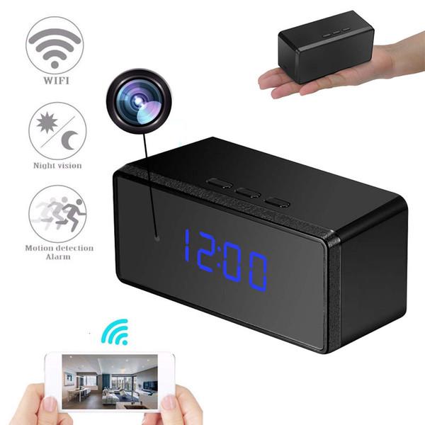 Mini Wifi HD 1080P Kamera Kablosuz Alarm Dijital Saat Güvenlik Video Mikro Kamera Masa Saati Kaydedici Gece Görüş Bebek Pet Dadı Kamerası