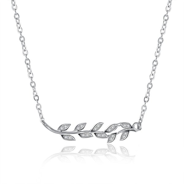Elegant Lady 925 Sterling Silver Necklace 3A+ Zircon CZ Olive Branche Leaf Pendant Clavicle Necklaces S925 Women Party Jewelry