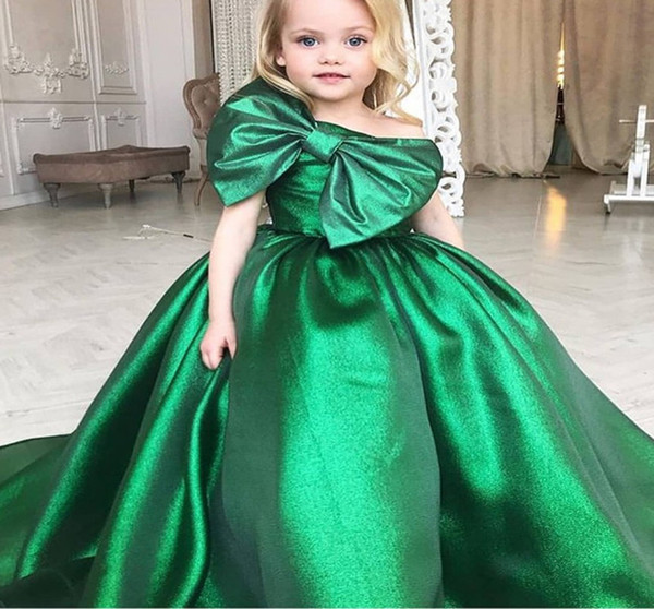2019 One Shoulder Green Ball Gown Girl's Pageant Dresses Flower Girls Dresses With Big Bow First Communion Dresses for Girls