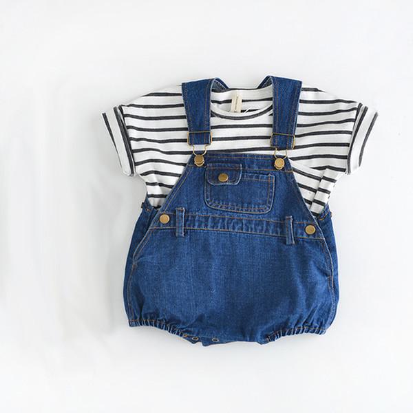 Un pezzo infantile unisex bambini ragazze tuta neonato abbigliamento denim bambino pagliaccetto allentato nuova tuta Q190518