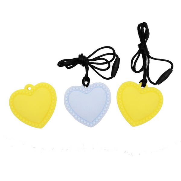 best selling Baby Teethers Silicone Teething Jewelry Heart Pendant Nursing Necklace Teether Toy for Mum Wear Chewable Beads