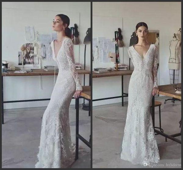 2019 Lihi Hod Vintage Wedding Dresses Full Lace V Neck Long Sleeves Bridal Gowns Plus Size Floor Length Custom Modest Cheap Wedding Dress
