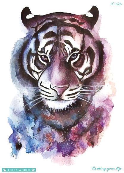 Временные татуировки поддельные татуировки стикер акварель леопард тигр татуировка флэш татуировки большой размер водонепроницаемые татуировки для мужчин, женщин, девочек