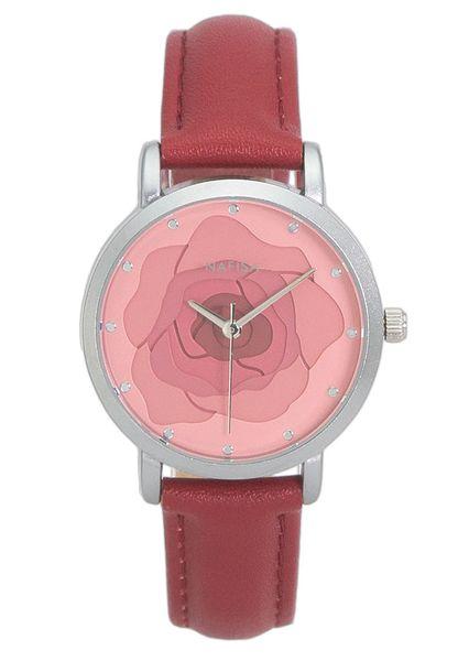 Hot Fashion Unique ronde Rose Fleur Design Dial Japon Quartz Rouge Couleur Suede Bracelet en Cuir Suede Montre-Bracelet NA-0204