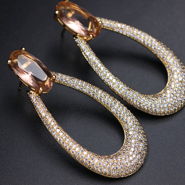 Fashion Luxury 3a Cubic Zirconia Pave Big Ellipse Stud Earrings For Women Crystal Glass Stone Gold Color Large Earrings Jewelry T7190617