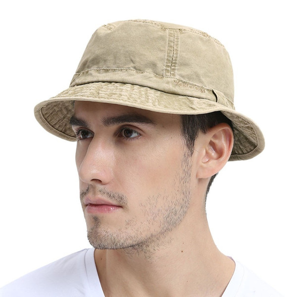 Voboom Washed Cotton Uv Protection Bucket Hat Men Summer Boonie Hunting Fisherman Khaki Hats Travel Japanese Korea Sun Cap 163 Y19070503