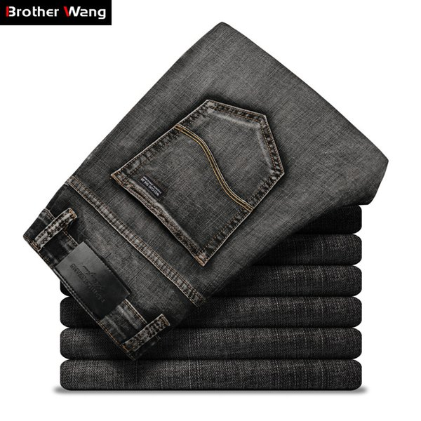 Classic Men's Dark Grey Jeans 2019 New Summer Thin Pants Fashion Casual Cotton Elastic Slim Fit Brand Trousers Male