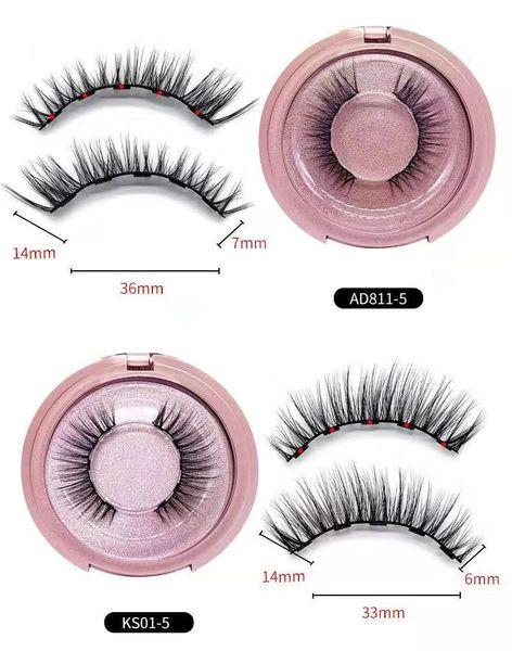 Magnetic eyelashes glue-free round box with tweezers five magnetic magnet eyelashes