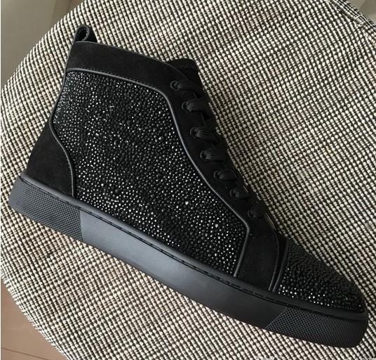 Yeni 2019 Tasarımcı Erkek Kadın Siyah Rhinestones Siyah Süet Deri Ile Yüksek Üst Sneakers Marka Rahat Ayakkabılar Bırak Nakliye