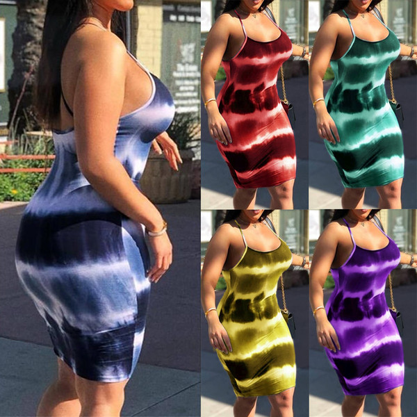 best selling Plus Size Women Tie Dye Strappy Summer Party Slim Bodycon Mini Dress Clubwear Vintage Fashion Short Pencil Dress Summer Clothes