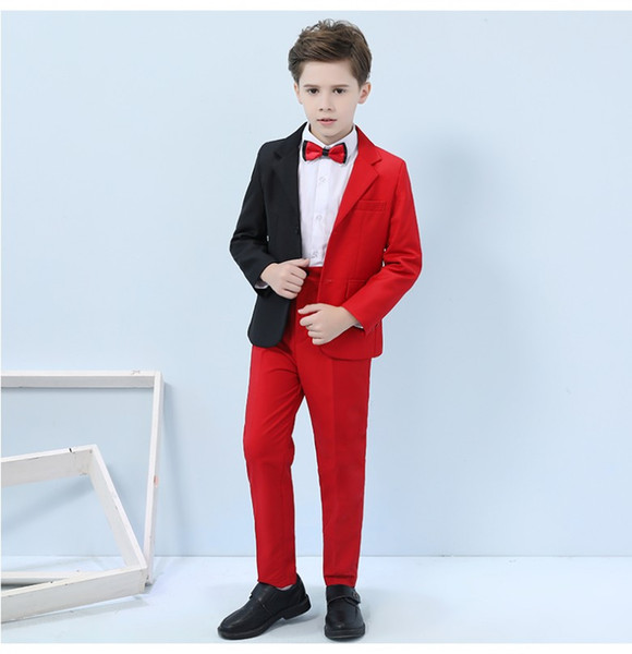 Handsome Kids Formal Occasion Business Suit Child Birthday Party Suits Prom Business Suits Boy Flower Girl(Jacket+Pants+Bow Tie) NO:006