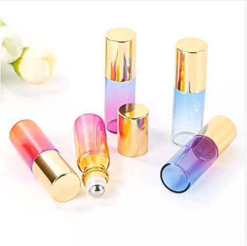 5ML gradiente di colore glassa di vetro olio essenziale bottiglia di profumo vuota palla roller uso da viaggio Necessari testa d'oro durevole
